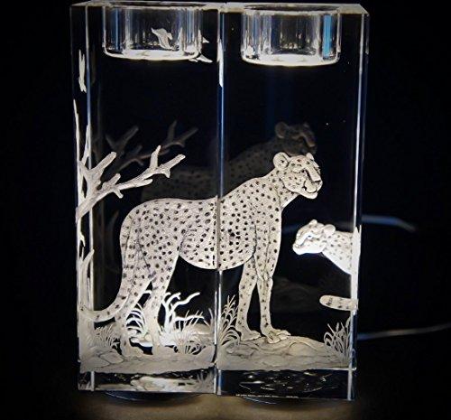 Hand Engraved Candlesticks Cheetah, Engraved Candlesticks, Etched Candlesticks, African Animals Cheetah