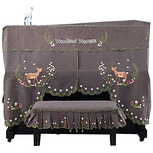 Review BWAM-hom Piano Keyboard Dust Cover Little Deer Paradise Pattern Piano Dust Cover with Bench C...