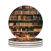 書棚柄 コースター 珪藻土 コーヒーコースター 滑り止め 断熱 吸水速乾 家庭用 丸型 カップマット おしゃれ 4枚セット