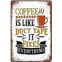ブリキ メタル プレート サイン 2枚 コーヒーはデュートテープのような錫の金属の看板ウォールアート|カフェ/キッチン/コーヒーコーナー/コーヒーポット用の厚いブリキプリントポスター壁の装飾