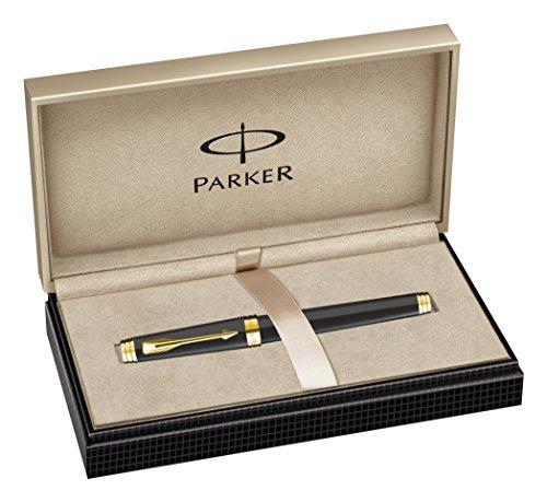 Parker S0887820 Premier Füllfederhalter (tiefschwarzer Lack mit vergoldeter Einfassung, mittlere Schreibfeder)