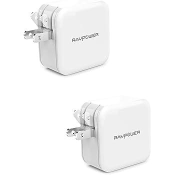 【2 Pack】RAVPower USB 充電器 2ポート 24W 【最大出力5V,4.8A/急速/折畳式プラグ】 iPhone/iPad/Android 等のUSB機器対応 RP-UC11 (ホワイト)