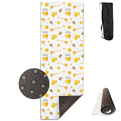 Rnivry Yoga Mat met Draagtas Vliegende Bijen Honing Gedrukt Niet Slip Oefening Mat Eco Vriendelijke Yoga Mat voor Pilates Oefening en Vloer Oefeningen 72