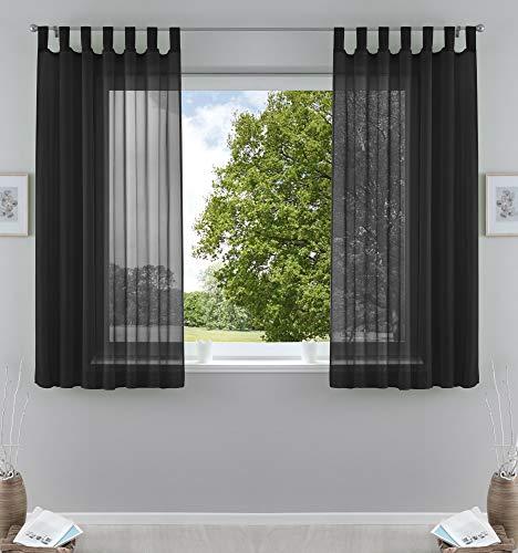 2er-Pack Gardinen Transparent Vorhang Set Wohnzimmer Voile Schlaufenschal mit Bleibandabschluß HxB 175x140 cm Schwarz, 61000CN