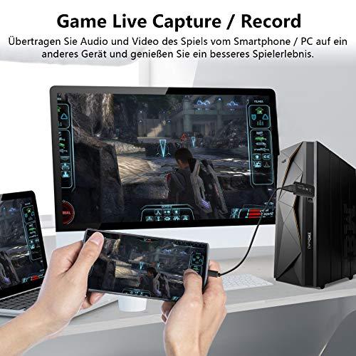 Audio Video Capture Card, VPOW HDMI auf USB 2.0 1080p Videoaufzeichnung über DSLR, Action Cam für Spiele, Streaming, Unterricht, Videokonferenzen oder Live-Übertragungen (Black)