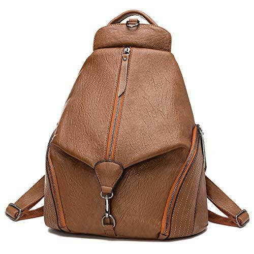 JOSEKO Rucksäcke Damen, Mode Rucksack Fraun Schultertasche Diebstahlsichere Tasche Casual Schulrucksack Messenger Tasche Handtasche Daypack für Schule Reise Arbeit(Braun#05)
