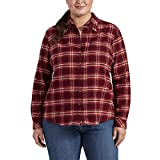 Dickies Women's Size Long-Sleeve Flannel Shirt, Burgundy Plaid, 3X-Large Plus