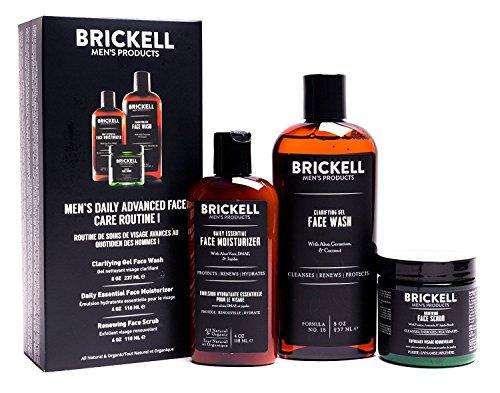 Brickell Men's Daily Advanced Face Care Routine I - Set aus Gesichtsreinigung, Feuchtigkeitscreme & Gesichtspeeling - Natürliche & organische Männer Gesichtspflege - Parfümiert