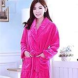 Frauen Roben Winter Warm Coral Fleece Nachthemd Nachtwäsche Weibliche Pyjamas Home Kleidung Floral Dressing Gron Kimono Hotel Bademantel-hot pink-5-XXL(175cm)