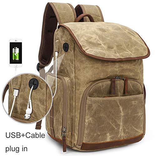 Wasserdicht Fotokamera Schultern Rucksack, mit USB und Kopfhörer-Stecker in F 15.4inch Laptop Stativ Travel DSLR-Tasche, Retro Batik Leinwand,Khaki