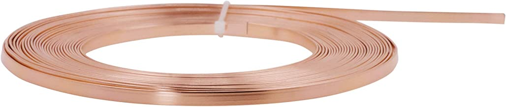 Mandala Crafts Flat Aluminum Wire for Bezel, Sculpting, Armature, Jewelry Making, Gem Metal Wrap, Gardening; Anodized Colored and Soft (Copper Tone, 3mm Wide 33 Feet Long 18 Gauge)