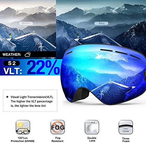 ZIONOR X Ski Snowboard Snow Goggles OTG Design for Men Women with Spherical Detachable Lens UV Protection Anti-Fog (22% Black Frame Revo Blue Lens)