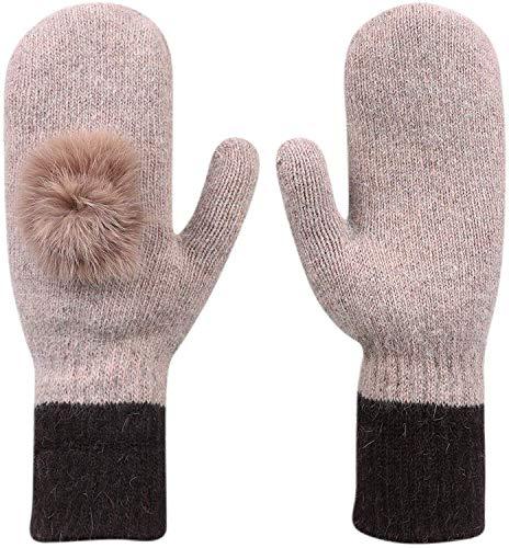 Reishandschoenen voor meisjes, winter, warm, kasjmier-handschoenen, dik, gebreid, met kunstbont, pomp-skihandschoenen, warm, voor de pols, bij het joggen, wandelen, maat voor volwassenen