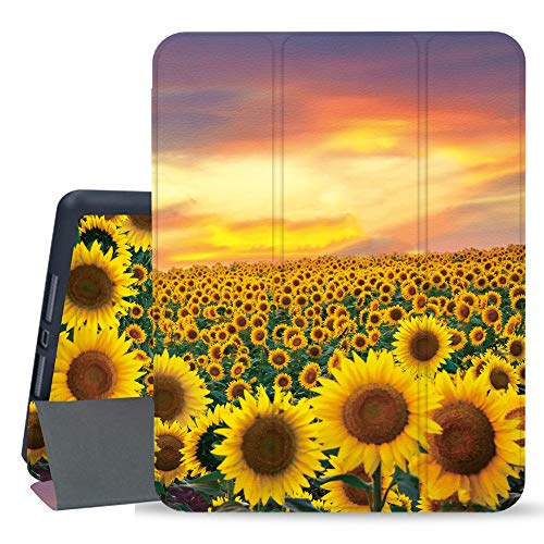 Hi Space iPad 10.2 Case Sunflower 2019 Painting iPad 7th Generation Case with Pencil Holder, Flower Slim Hard Back Shell Protective Shockproof Cover with Auto Sleep/Wake for A2197 A2198 A2200