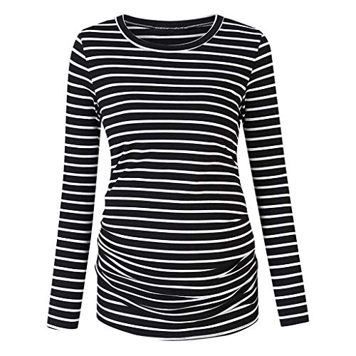 Damen Pflege gestreifte Bluse Geschichtet Langarm Stillen Shirt Umstands Tshirt Umstandstop Umstandsmode Stilltop Baumwolle Schwangerschaft Streifen Shirt Umstands