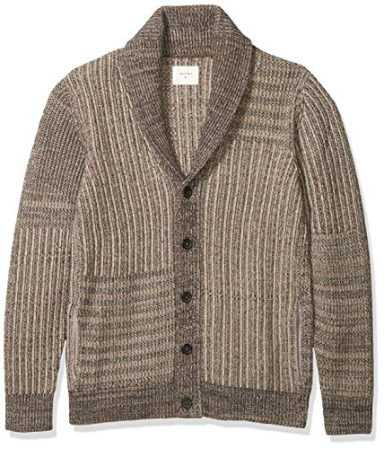 Billy Reid Men's Long Sleeve Shawl Collar Cardigan Sweater, Grey Patchwork Ribbon, M