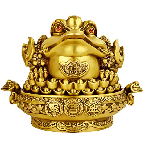 JSIHENA Lucky Money Toad, Feng Shui Toad Frog Cornucopia Basin Statue with Coin Attract Wealth and Good Luck Statue Decoration, Home Office Decoration Good Lucky Gift,15cm