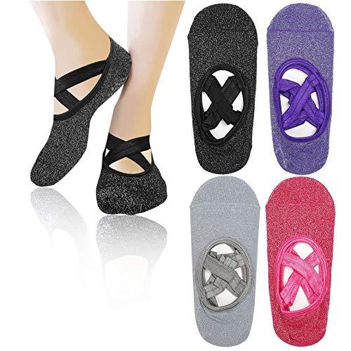 MaoXinTek Yoga Socken 4 Paar rutschfeste Pilates Socken Tanz Crisscross Straps Design für Damen Pilates Barre Ballett