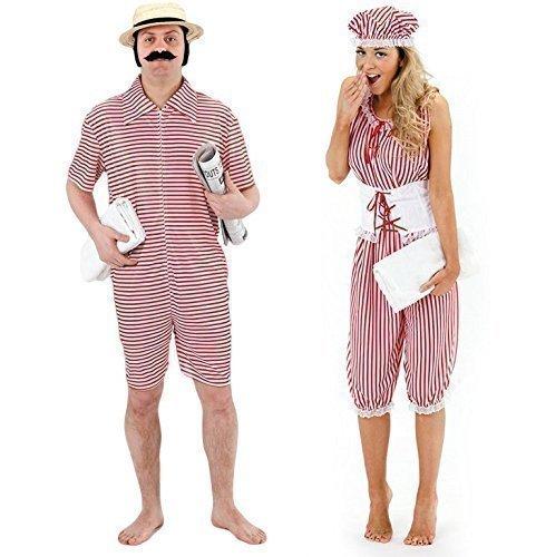 Fancy Me Herren & Damen Paar 1920s Jahre Strand Badeanzug Kostüm Verkleidung Outfit