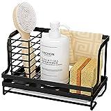 Oriware Organizador Sink Caddy Soporte para Utensilios de Cocina para el Fregadero Soporte para Trapo de Cepillo de Esponja - Acero Inoxidable - Negro