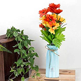 Blue Artificial Flower Vase for Home Decoration, Artificial Plants with Vase, Yellow & Red Multi Head Artificial Flower, S...