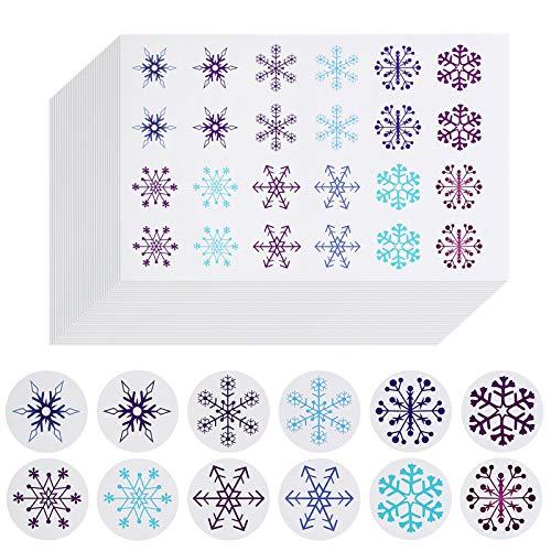 Naler 960 Stück Schneeflocken Aufkleber Rund Geschenkaufkleber Weihnachten Deko Sticker für Adventskalender Versiegeln