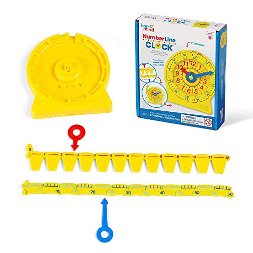hand2mind Number Line Clock for Kids, Math Manipulatives for Counting Numbers and Telling Time, Montessori Toys For Toddlers, Learning to Tell Time Clock, Kindergarten Homeschool Supplies