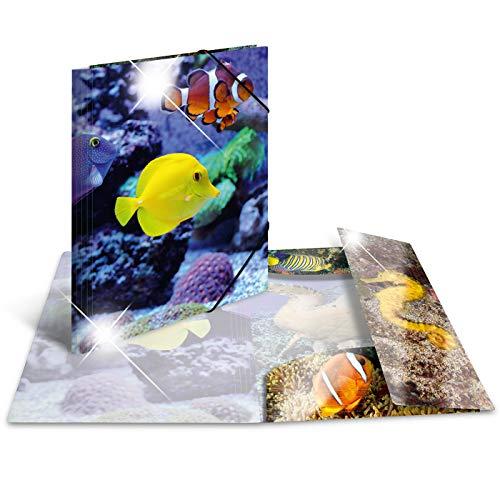 HERMA 19334 Sammelmappe DIN A3 Tiere Fische aus stabilem Kunststoff mit Hochglanz-Effekt und bedruckten Innenklappen, Gummizugmappe, Eckspanner-Mappe, 1 Zeichenmappe für Kinder
