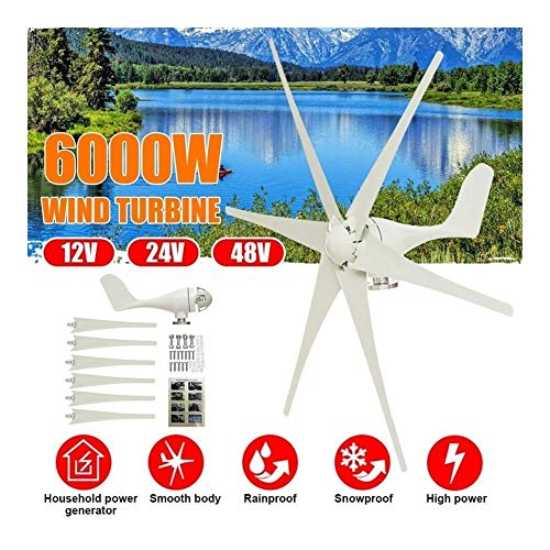 N / A 5000 W / 6000 W 12 V / 24 V / 48 V 6 Klingen Horizontal Windgenerator + Controller, Energie-Turbine für Zuhause Camping Aufladen, Nylonfaser, 6000W 48V