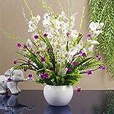xgruisi Fleur Artificielle Pot en Céramique dans Un Vase en Céramique, Décoration De La Maison, Bouquet De Rayonne Très Réaliste (19Ème Couleur)