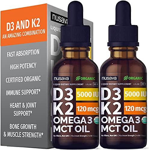 (2 Pack) Organic Vitamin D3 K2 Drops w MCT Oil Omega 3, 5000 IU, Maximum Strength Vitamin D Liquid 5000 IU, No Fillers, Non-GMO Liquid D3 for Faster Absorption and Immune Support, 2 oz