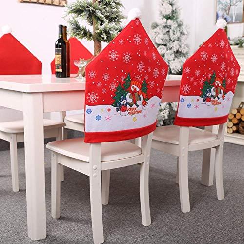 RecoverLOVE Santa Claus Cap Silla Juego de Fundas de 4 PCS | Juegos de Fundas para sillas no Tejidas para la Cena de Navidad | Fundas para sillas de decoración navideña 2020, 23.62 x 19.29 in