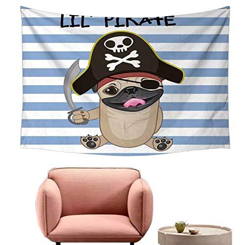 N/ Decoracin De Tapices Impresin 3D Perro En Estilo De Dibujos Animados Disfraz Pirata Teln De Fondo A Rayas Tapiz De Animal Divertido Psicodlico Arte Pared Decoracin Vacaciones (130 X 150 Cm)