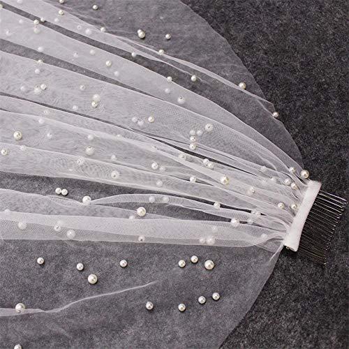 WMVEIL Perlen Brautschleier mit Kämmen 1 Tier Wunderschönen Lange Dom Schleier mit Perlen Schnitt Kante Hochzeit Zubehörteil zum Braut,Ivory,1.5M