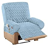 Collections Etc Diamond Quilted Stretch Recliner Cover with Storage Blue Recliner