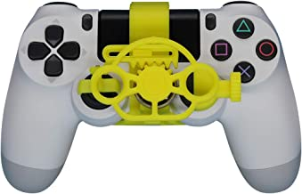 PS4 Gaming Racing Wheel (Standard), 3D Printed Mini Steering Wheel add on for The Playstation 4 Controller (Yellow)