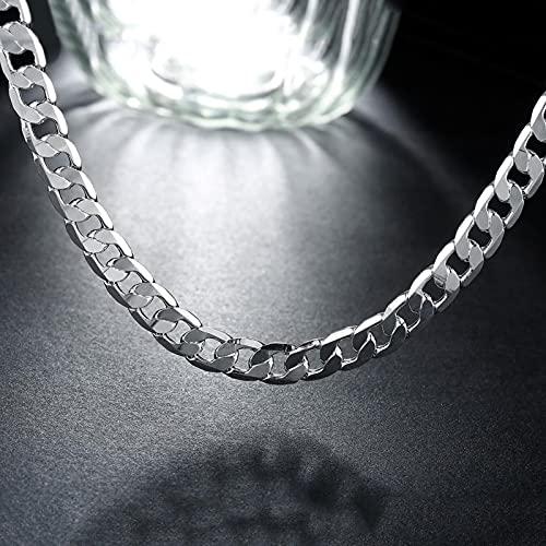 DOOLY Collar de Plata esterlina de 925 clásicos Personalidad de la joyería 16-24 Pulgadas 8mm Collar de Moda