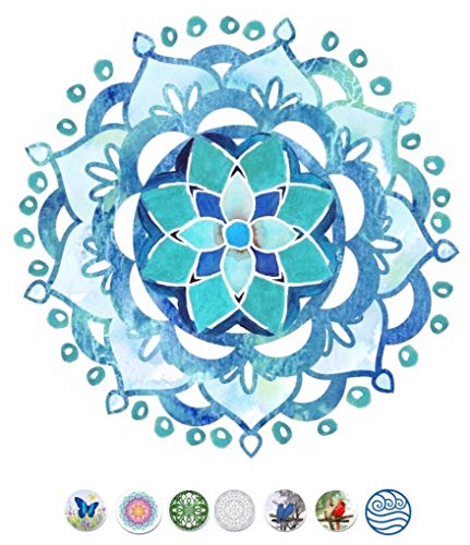 Screen Door Magnets – Twist, Click and Lock - Keep People and Pets Safe - Blue Mandala
