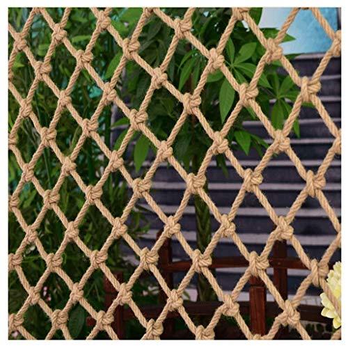 NiUFHW Henneptouw decoratienet, veiligheidsnet isolerend net voor kinderen buiten, sport, klimnet, balkon, trappen, ramen, tuin, dak, plafond