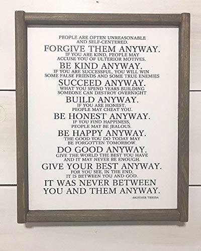 SIGNS Madre Teresa Cita, Madre Teresa Poema, Divertido inspirador, Madre Teresa de todos modos divertido, Do it Anyways Funny