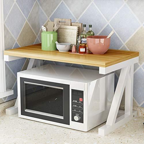 WXQIANG Estante de cocina de 2 niveles para horno de microondas, soporte de botellas de condimento, de metal, de gran capacidad, estante de esquina de almacenamiento duradero y protector
