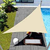 Windscreen4less 10' x 10' x 14.1' Sun Shade Sail Triangle Canopy in Beige with Commercial Grade Customized