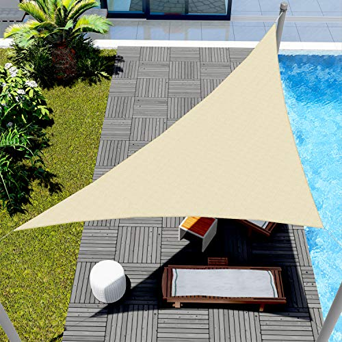 Windscreen4less 12' x 12' x 17' Sun Shade Sail Triangle Canopy in Beige with Commercial Grade Customized