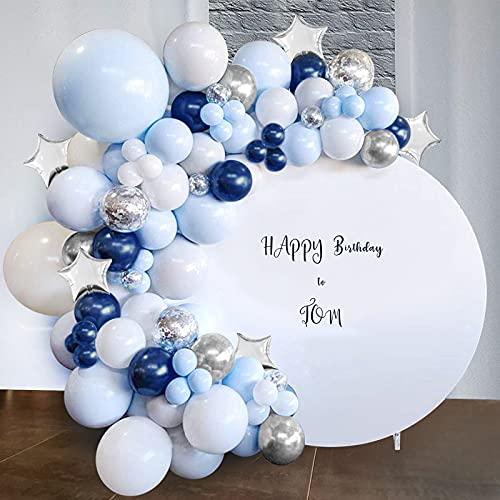 Arco Globos Azules Kit de guirnaldas,Globos Azules y Blancos,Globos de Látex Llenos de Confeti,Globos Plata de Metal 97pcs para Bautizo Niño Niña Cumpleaños Baby Shower Comunion Decoración Bodas