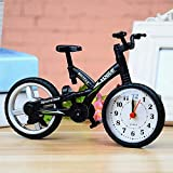 Reloj Despertador Bicicleta Forma Infantil Mesa Hogar con Estilo Vintage Silencioso Moda Regalos Movimiento Oficina Sobremesa Decoración Dormitorio Infantil de Pilas (Negro) - Negro, free size