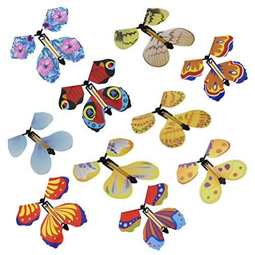 SEALEN 10 PCS Magic Fairy Flying Butterfly Wind Up Toys for Card, Rubber Band Powered Flying Toys Magic Butterflies, Gag Gifts for Kids Great Surprise Stocking Stuffers Party Playing (Random Color)