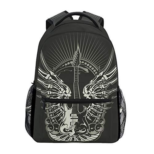 Drachen Teufel Gitarre Schulter Student Rucksacks Bookbags Kinderrucksack Büchertasche Rucksäcke für Teen Mädchen Jungs
