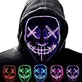 Halloween Purge Mask para Carnaval,LED Máscara Luminosa Terror y Diversión,3 Modos de Parpadeo Diferentes Controlables,para Hombres Mujeres con Niños Carnival Halloween Fiesta Cosplay Mascarada