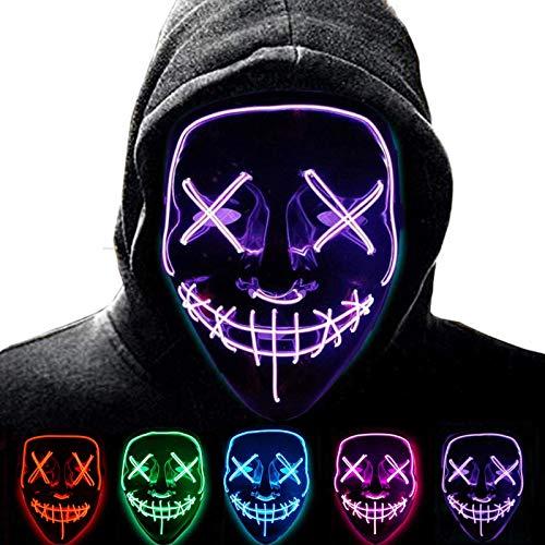Anxicer LED Maske Purge,Party Leucht Maske für Karneval,Grusel and Interessant,3 Steuerbare Verschiedene Blinkmodi,Gelten für Karneval Halloween Cosplays Feste und Partys (Purple)