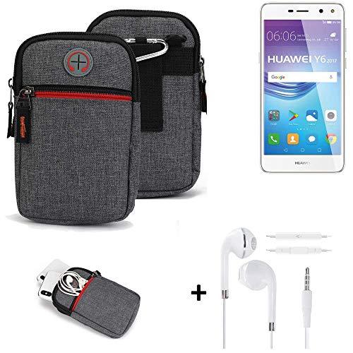K-S-Trade® Gürtel-Tasche + Kopfhörer Für -Huawei Y6 2017 Single SIM- Handy-Tasche Schutz-hülle Grau Zusatzfächer 1x
